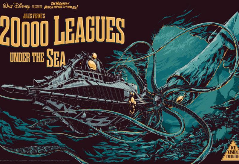 Manifesto film di Walt Disney 1954, 20.000 leghe sotto i mari