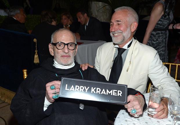 Larry Kramer (L) and David Webster